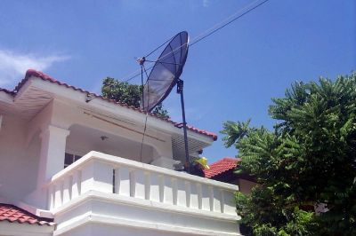 setting up the satellite dish in the south of Bangkok